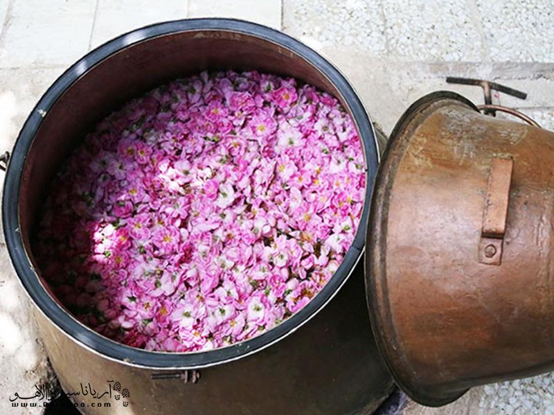 یکی از جاذبههایی که زمان گلاب گیری کاشان میبینید، ابزار سنتی مورد استفاده برای گلاب گیری است.
