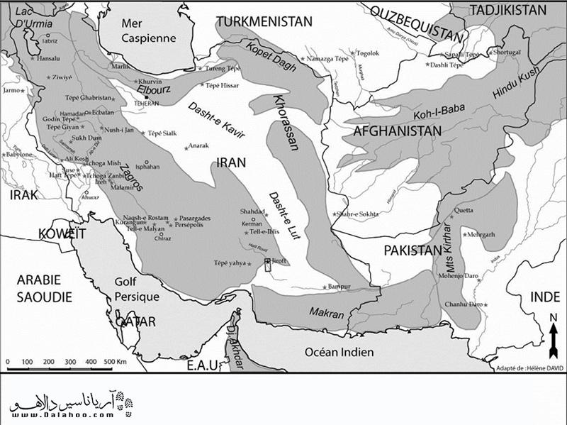 جایگاه تمدن جیرفت روی نقشه در زمان گذشته.
