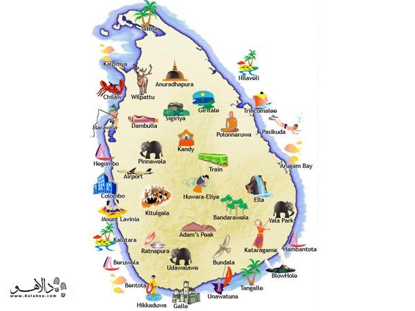 نقشه سریلانکا، گوشواره شبه قاره هند!