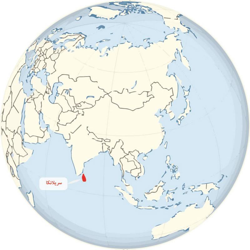 کشور سریلانکا را به رنگ قرمز روی نقشه میبینید