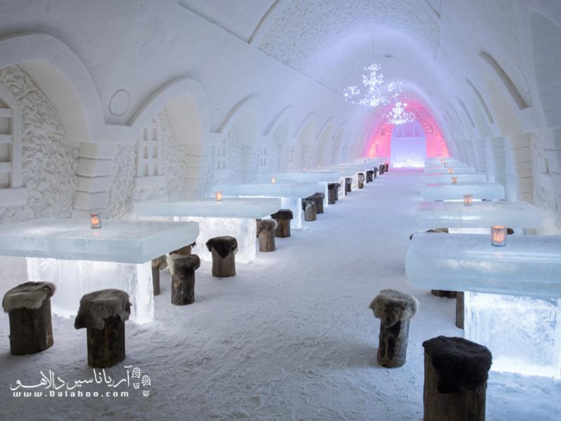 رستوران قصر یخی فنلاند، همان جایی است که میشود غذا خوردن بین یخها را تجربه کرد.
