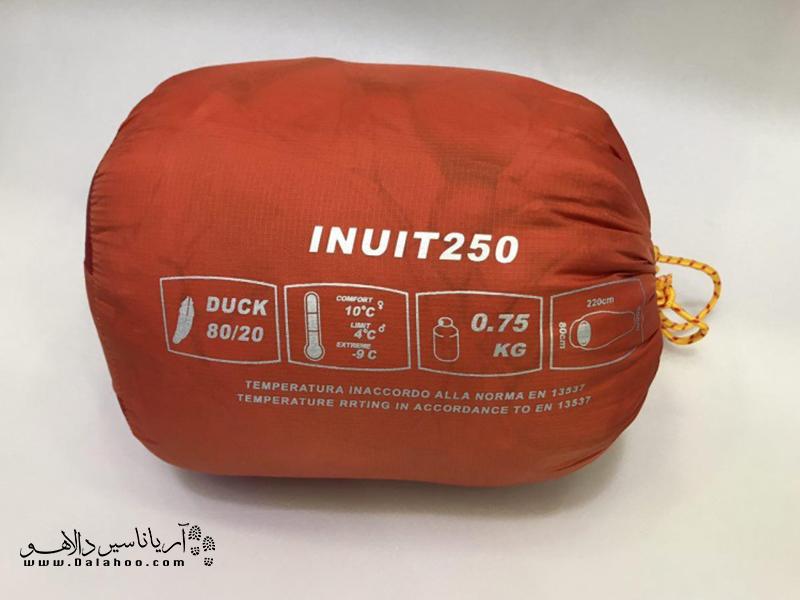 نمونهای از نحوه درج شدن دما روی کیسه خواب.