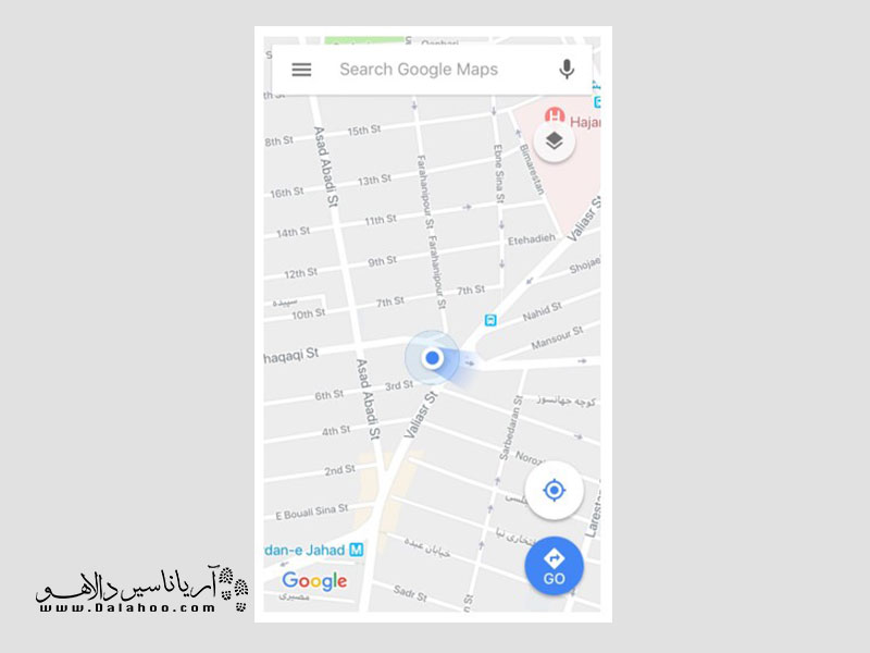 نقشه گوگل مپس در صفحه اصلی.
