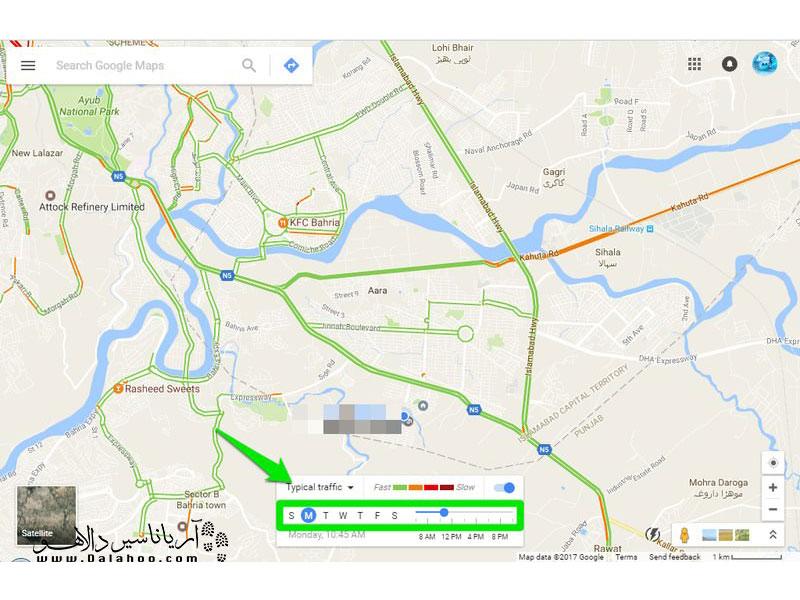با گوگل مپ میتوانید از میزان ترافیک مسیرهای مشخص در بازه زمانی مشخص اطلاع کسب کنید.