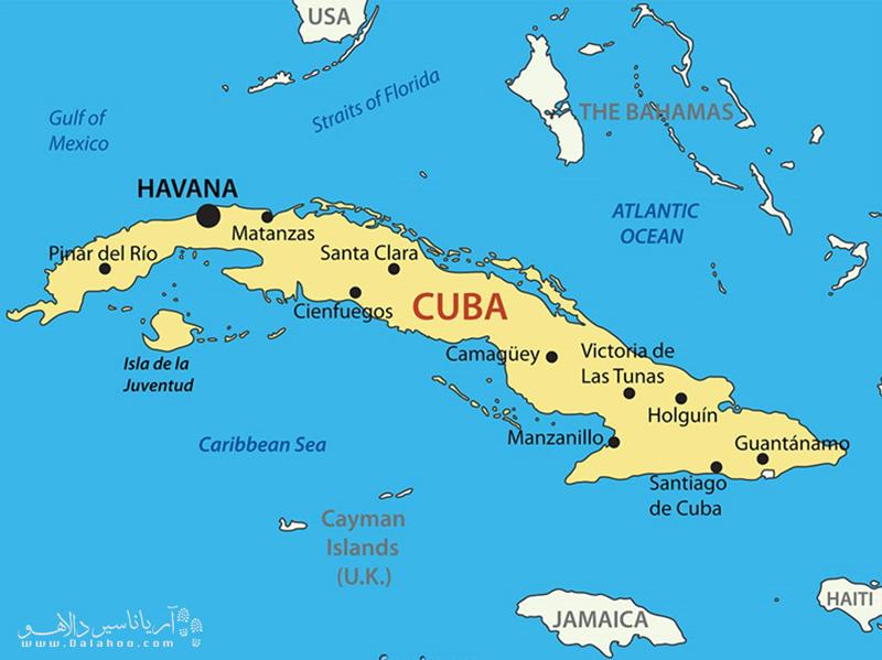 نقشه کوبا مثل یک کروکودیل است.