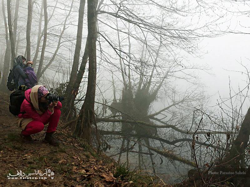 دریاچه ارواح در یکروز مه آلود.