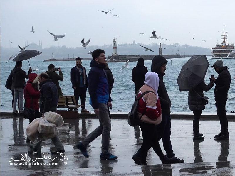 آب و هوای استانبول اکثرا بارانی است.