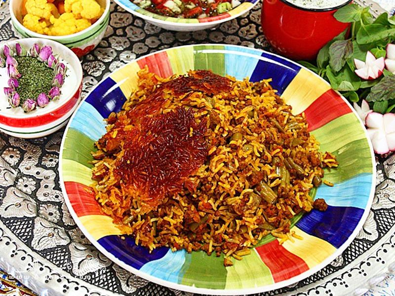 لوبیاپلو غذای لذیذ ایرانی.