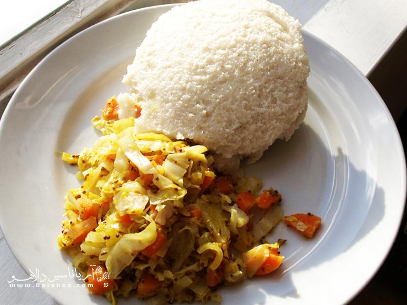اوگالی چون سفت و فرنیمانند است به راحتی شکل میگیرد.کنیاییها اوگالی را با کلم و دیگر سبزیجات میخورند.